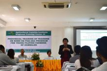 Dr. Luz Taposok delivers an inspirational message for the young farmers during Provincial Training of Trainers on Binhi Program
