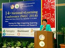 ATI OIC-Director Luz A. Taposok speaks before the participants of the 14th National eLearning Conference.