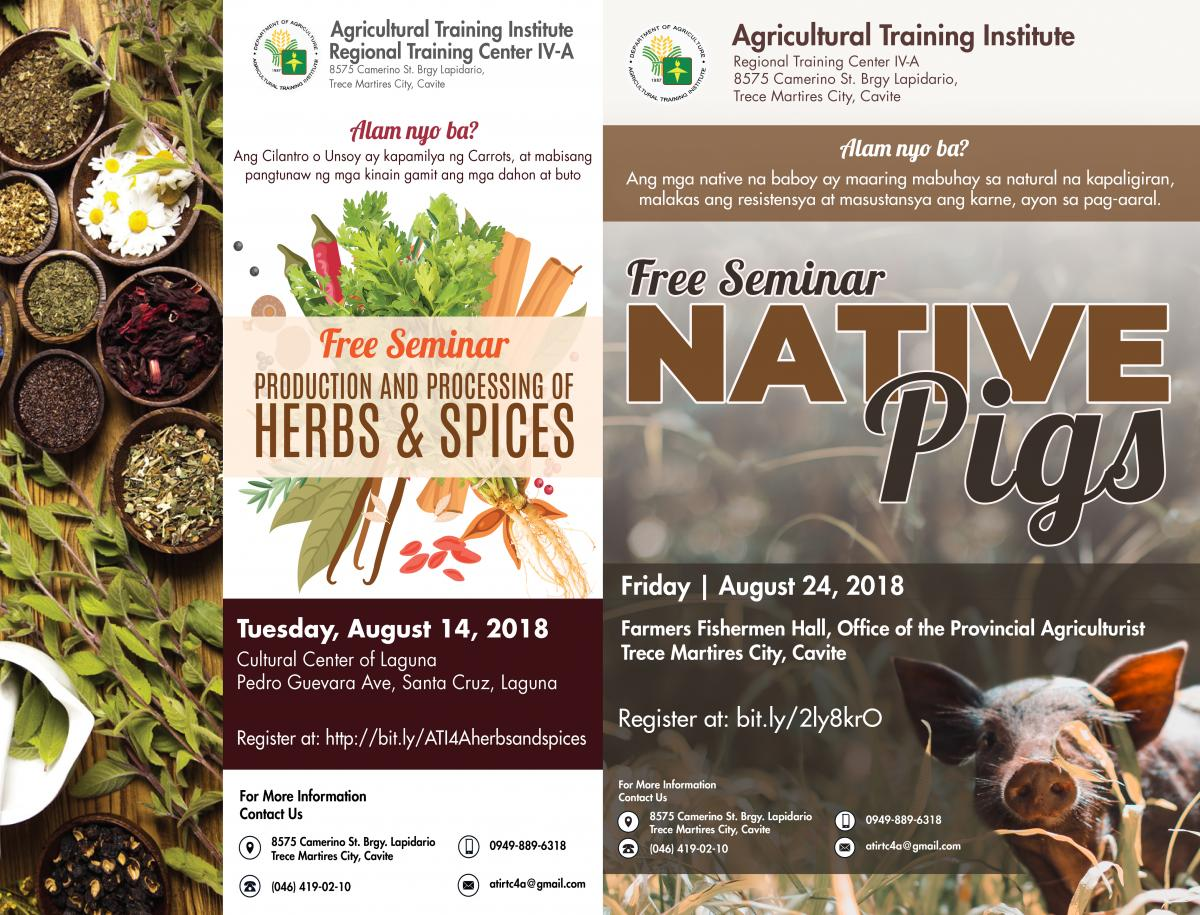 ATI IVA Free Seminar Series Native Pig and Herbs and Spices