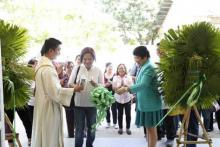 Dr. Luz Taposok in green, Ms. Veronica Concepcion Esguerra in white and  Rev. Fr. Charles Capinpin in Palayan City