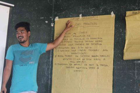 Mr. Marfe Pantoc presented the output of their group during their workshop.