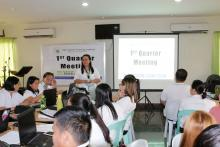 ATI 9 newly full-fledged Center Director Alicia Rose D. Nebreja, delivered her message during the opening program of 1st Quarter Meeting.