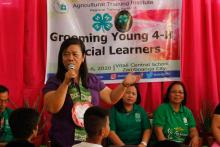 ATI-RTC IX Center Director, Ms. Alicia Rose D. Nebreja, delivers a very touching message during the Opening Program of the activity on Grooming Young 4-H Special Learners at Vitali Central School.
