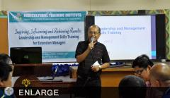 Asst. Dir. Alfredo S. Aton encourages participants to help in the common goal of alleviating the living condition of farmers.