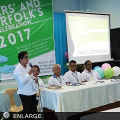Dr. Patindol talks about ATI's programs for the youth during the Farmers' and Fisherfolk's Month Celebration 2017 presscon.