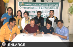 Representatives from ATI Central Office, Regional Training Center XII, DILG Region XII and Agusan del Sur LGU sign the MOU.