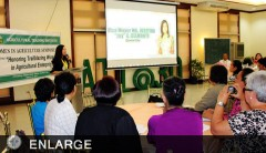 Quezon City Joy Belmonte speaking to the participants of ATI's Symposium for Women's Month (photo by Daniel S. Nilo)
